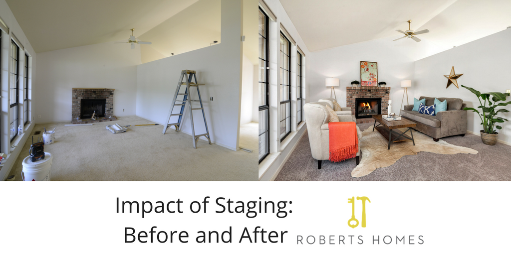 Impact of home staging before and after shows a room before and after staging